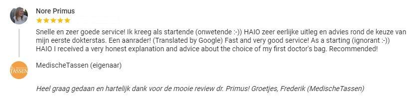 Klantenfeedback dr. Nore Primus