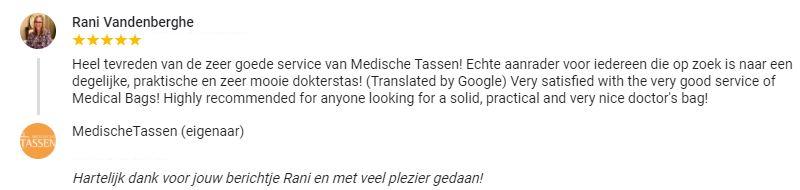 klantenfeedback dr. Rani Vandenberghe